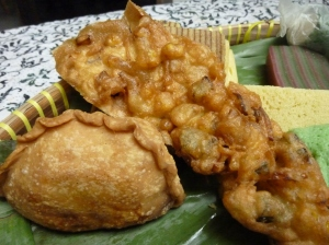 Curry puff and prawn fritter